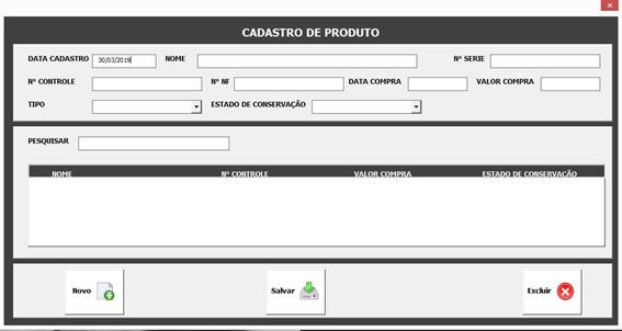 Formulário de Cadastro de Produtos - Sistema Completo de Controle Patrimonial com Excel VBA e Access