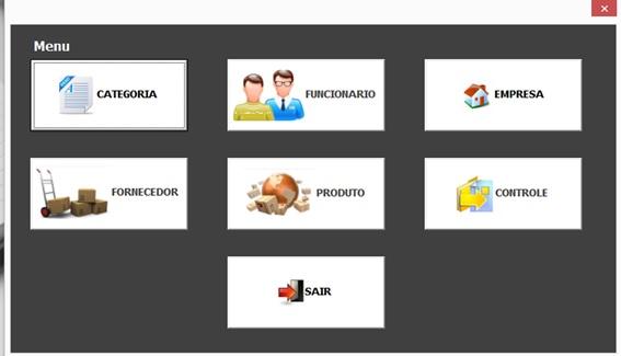 Menu Principal - Sistema Completo de Controle Patrimonial com Excel VBA e Access
