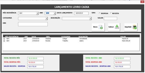 Crie uma Planilha de Controle de Livro Caixa com Excel, VBA e Access como Banco de Dados - Cadastro de Lançamentos