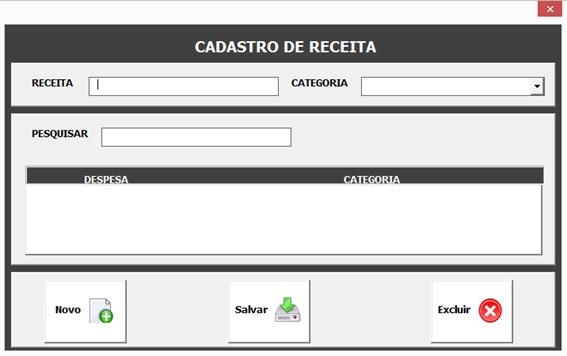 Crie uma Planilha de Controle de Livro Caixa com Excel, VBA e Access como Banco de Dados - Cadastro de Receitas