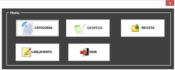 Crie uma Planilha de Controle de Livro Caixa com Excel, VBA e Access como Banco de Dados - Menu Principal