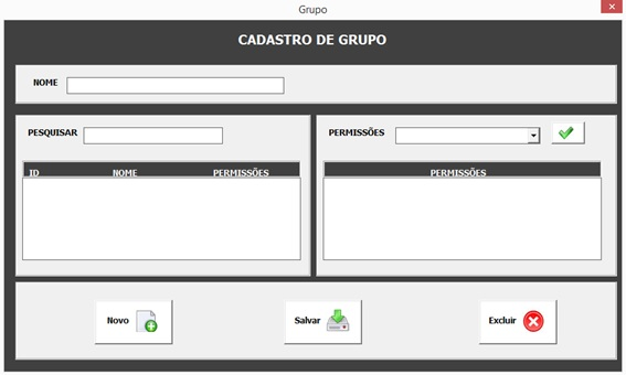 Formulário Para Cadastro e Administração de Grupos de Usuários