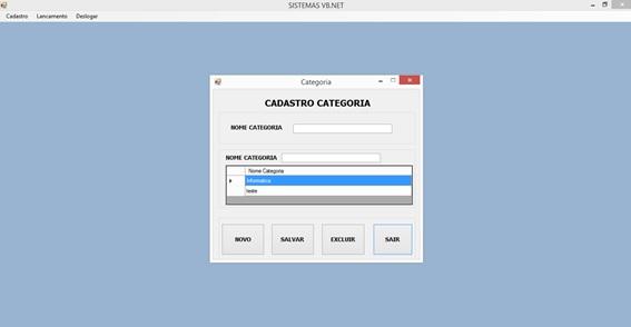 Controle de Produtos com VB.NET e SQL Server Express - Tela de Cadastro de Categorias