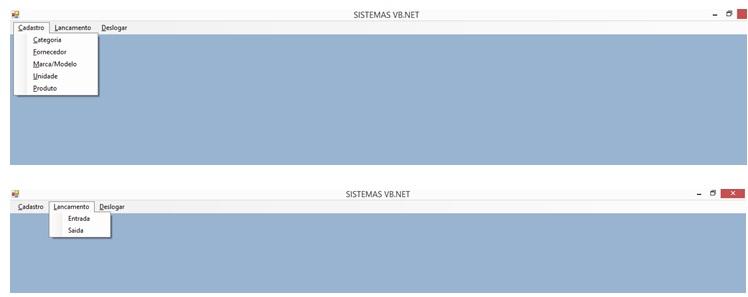 Controle de Produtos com VB.NET e SQL Server Express - Menus do Sistema