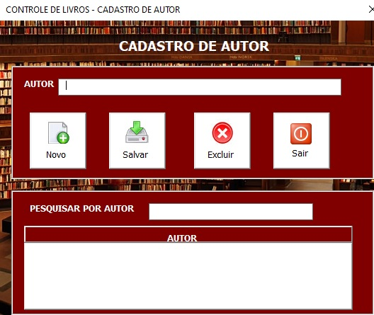 Planilha de Cadastro de Livros em Excel VBA e Access - Formulário de Cadastro de Autores