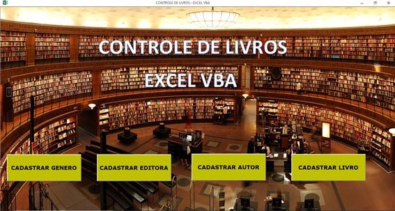Planilha de Cadastro de Livros em Excel VBA e Access - Menu Principal