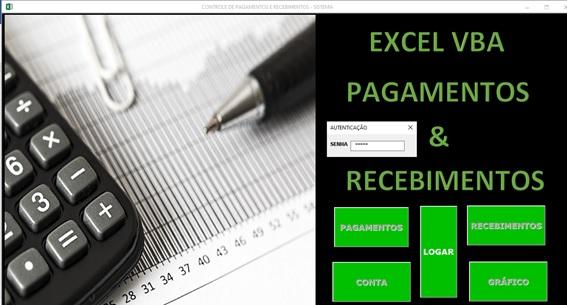 Planilha de Controle de Contas a Pagar e Contas a Receber em Excel VBA e Access - Tela de Logon
