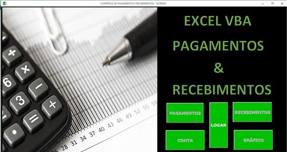 Planilha de Controle de Contas a Pagar e Contas a Receber em Excel VBA e Access - Menu Principal