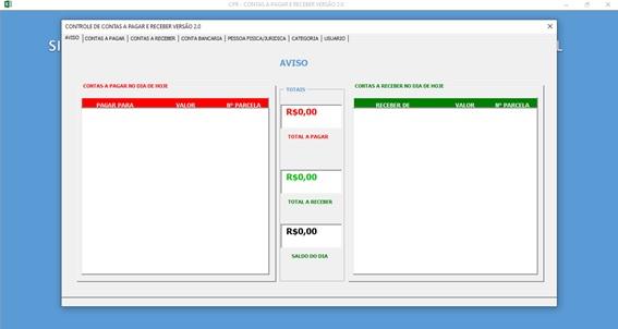 Planilha de Controle de Contas a Pagar e Contas a Receber - Tela de Avisos do Sistema