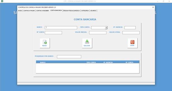 Planilha de Controle de Contas a Pagar e Contas a Receber - Tela de Cadastro de Contas Bancárias do Sistema