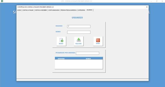 Planilha de Controle de Contas a Pagar e Contas a Receber - Tela de Cadastro de Usuários para Logon ao Sistema