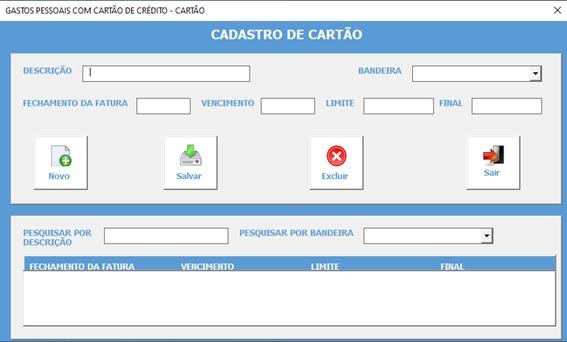 Planilha Para Cadastramento e Controle de Gastos com Cartão de Crédito em Excel VBA e Access - Cadastro de Cartões