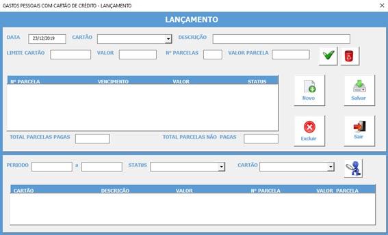 Planilha Para Cadastramento e Controle de Gastos com Cartão de Crédito em Excel VBA e Access - Cadastro de Gastos com Cartões de Crédito
