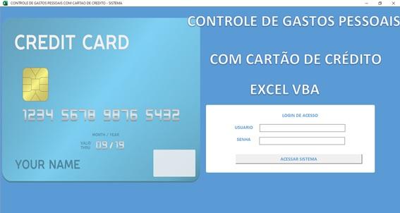 Planilha Para Cadastramento e Controle de Gastos com Cartão de Crédito em Excel VBA e Access - Tela de Logon