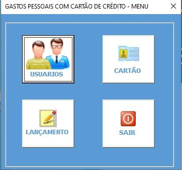 Planilha Para Cadastramento e Controle de Gastos com Cartão de Crédito em Excel VBA e Access - Menu Principal