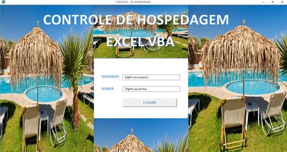 Planilha de Controle de Hospedagem para Hotéis e Pousadas - Tela de Logon e Abertura do Sistema
