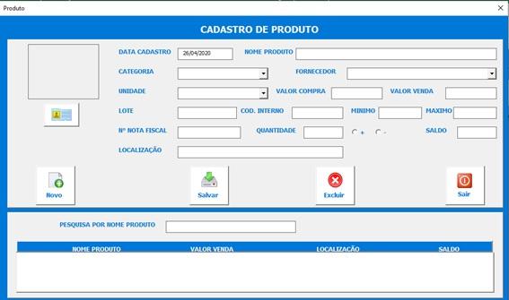 Planilha de Controle de Pedidos de Compras - Cadastro de Produtos