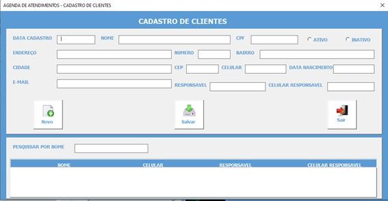 Planilha Para Cadastramento e Controle de Agendamento de Serviços e Consultas em Excel VBA e Access - Cadastro de Clientes