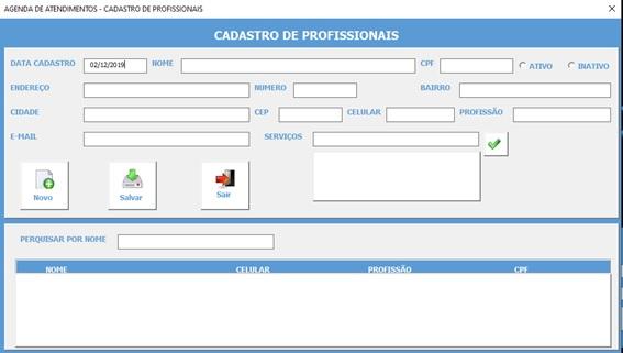 Planilha Para Cadastramento e Controle de Agendamento de Serviços e Consultas em Excel VBA e Access - Cadastro de Profissionais