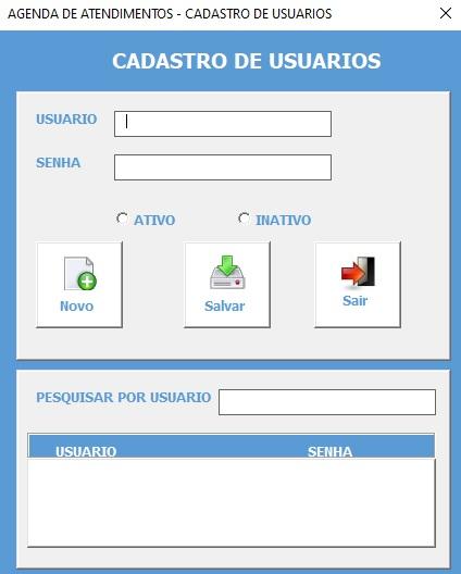 Planilha Para Cadastramento e Controle de Agendamento de Serviços e Consultas em Excel VBA e Access - Cadastro de Usuários