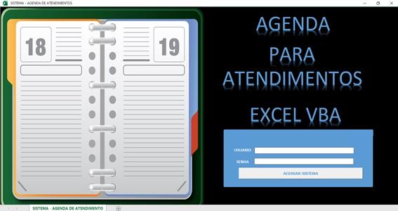 Planilha Para Cadastramento e Controle de Agendamento de Serviços e Consultas em Excel VBA e Access - Tela de Logon