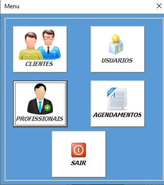 Planilha Para Cadastramento e Controle de Agendamento de Serviços e Consultas em Excel VBA e Access - Menu Principal