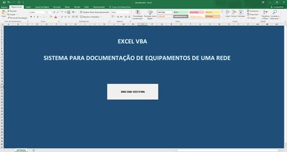 Planilha para Documentação de Rede e Infraestrutura de TI - Tela de Abertura
