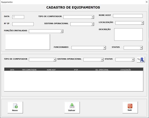 Planilha para Documentação de Rede e Infraestrutura de TI - Cadastro de Equipamentos