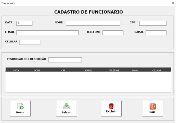 Planilha para Documentação de Rede e Infraestrutura de TI - Cadastro de Funcionários