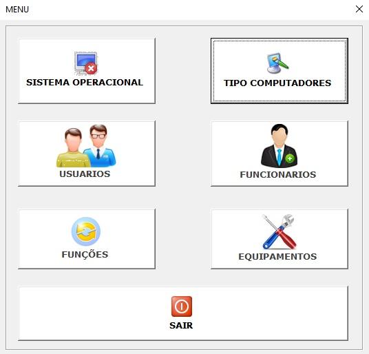Planilha para Documentação de Rede e Infraestrutura de TI - Menu Principal