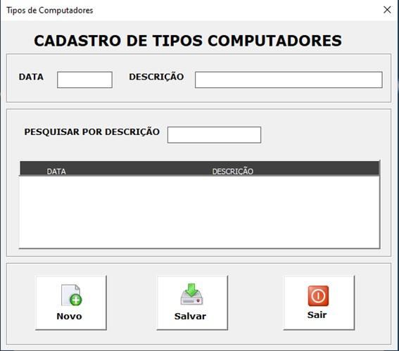 Planilha para Documentação de Rede e Infraestrutura de TI - Tipos de Computadores