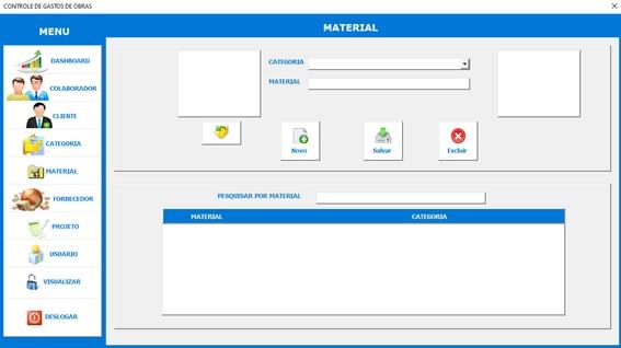 Planilha para Controle de Gastos com Obras e Reformas - Tela de Materiais