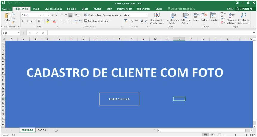Planilha de Cadastro de Clientes com VBA no Excel - Tela Principal
