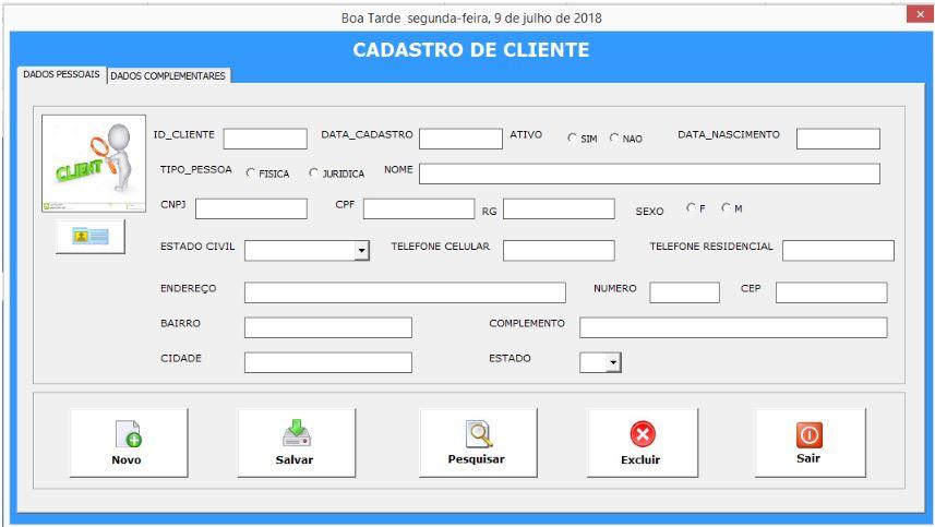 Planilha de Cadastro de Clientes com VBA no Excel - Tela de Cadastro do Cliente