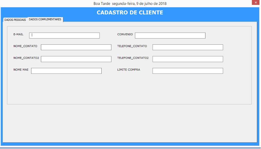 Planilha de Cadastro de Clientes com VBA no Excel - Dados Complementares