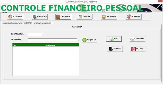 Tela de Cadastro de Categorias - Controle Financeiro Pessoal em Excel e VBA