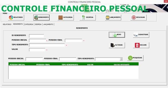 Tela de Cadastro de Receitas - Controle Financeiro Pessoal em Excel e VBA