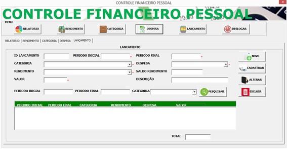 Tela de Lançamento de Despesas - Controle Financeiro Pessoal em Excel e VBA