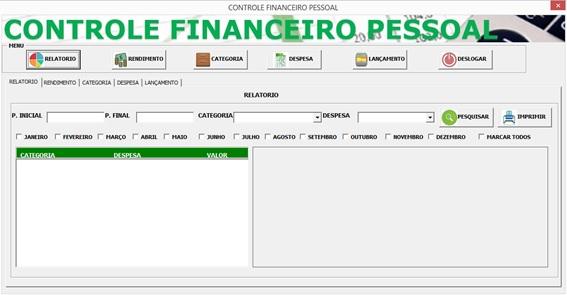 Tela Principal do Sistema e Menus - Controle Financeiro Pessoal em Excel e VBA
